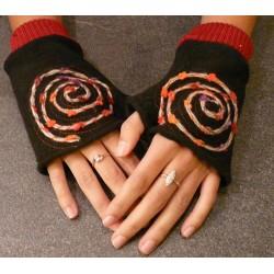 Mitaines spirale noir/rouge