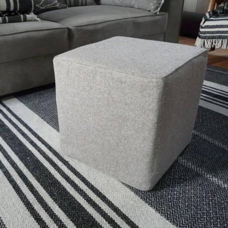 Pouff cube / gris naturel
