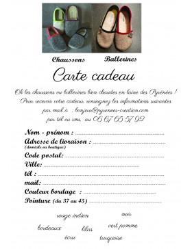 Carte cadeau chausson ou ballerine